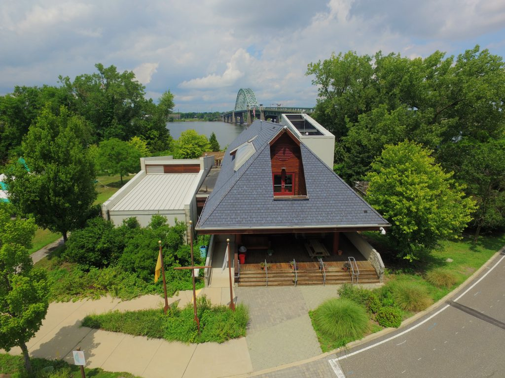 photo of environmental STEM center with bridge in background